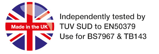A made in the UK badge with text saying tested by TUV SUD to EN50379. Use for BS7967 & TB143
