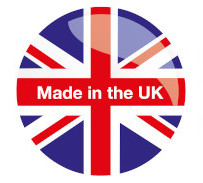 A Union Jack flag with made in the UK written on it
